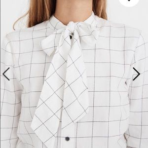 Madewell Flannel Tie-Neck Windowpane Shirt XS